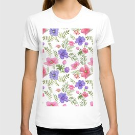 Seamless pattern of pink and purple meadow flowers on a white background. T-shirt