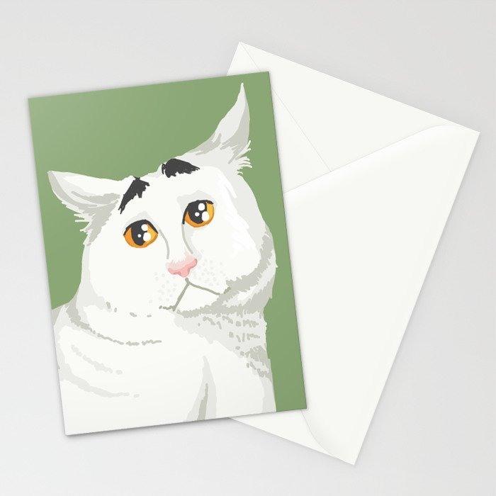 Sam the Cat with Eyebrows Stationery Cards