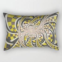 Liquid Taxi Cab, a Yellow Checkered Retro Fractal Rectangular Pillow