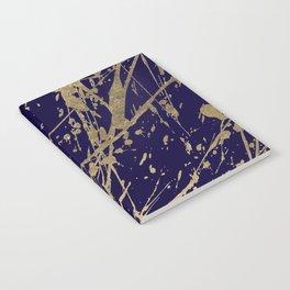 Elegant faux gold modern navy blue paint splatters Notebook