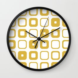Rounded Squares Geometric Pattern in Mustard Yellow and White Wall Clock