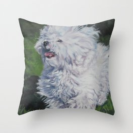 Bichon Bolognese dog art from an original painting by L.A.Shepard Throw Pillow