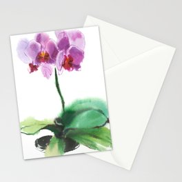 orchid phalaenopsis, watercolor sketch from nature Stationery Cards