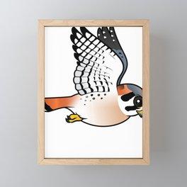 Cute Cartoon Falcon Kestrel Bird in Flight Shirt Framed Mini Art Print
