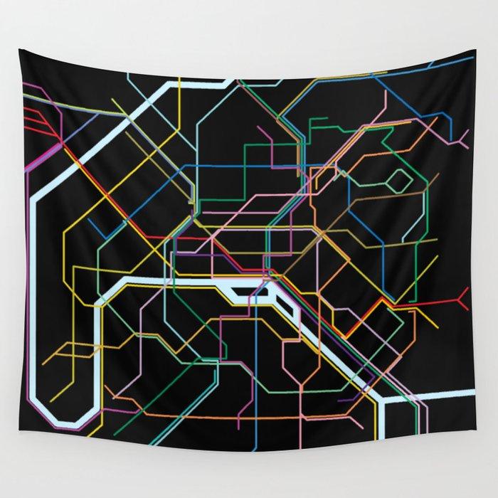 Subway Map Tapestry.Paris Subway Map Wall Tapestry By Byebyesally