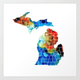 Michigan State Map - Counties by Sharon Cummings Art Print
