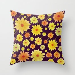 Yellow dots, Yellow Flower, Floral Pattern, Yellow Blossom Throw Pillow