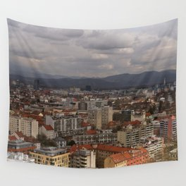 Over The Rooftops of Ljubljana Wall Tapestry