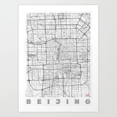 Beijing Map Line Art Print