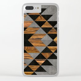Urban Tribal Pattern 10 - Aztec - Concrete and Wood Clear iPhone Case
