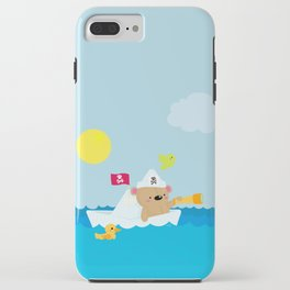 Bear in paper boat iPhone Case