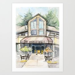 Coffee Shop Art Urban City Watercolor Art Print