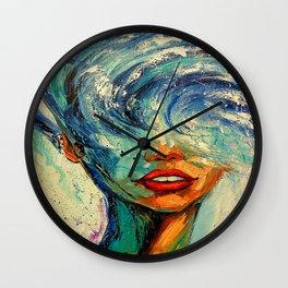 Girl wave Wall Clock