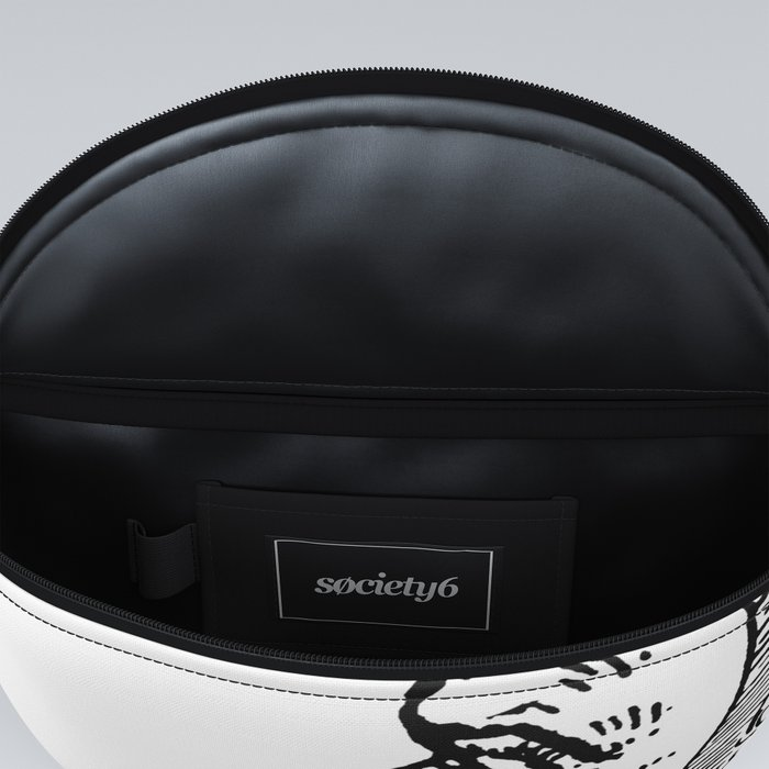 Man On The Moon Crescent Moon Black on White Fanny Pack