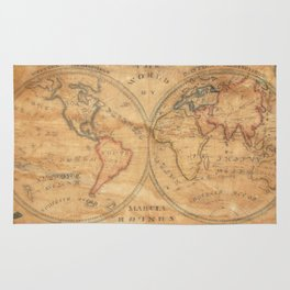 Vintage Map of The World (1833) 2 Rug