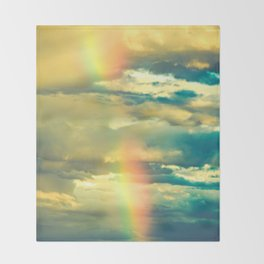 Rainbow Blue Sky Clouds Throw Blanket