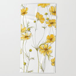 Yellow Cosmos Flowers Beach Towel