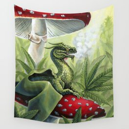 Smoking Dragon in Cannabis Leaves Wall Tapestry