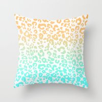 leopard Throw Pillows featuring LeopARD by Monika Strigel
