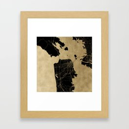 San Francisco California Black and Gold Map Framed Art Print