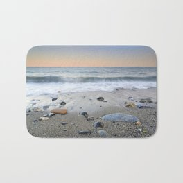 """Mediterranean waves at sunset"". Pink sunset Bath Mat"