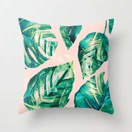 Leaf watercolor pastel Throw Pillow
