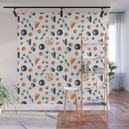 Happy halloween pattern with candies and lollipops Wall Mural