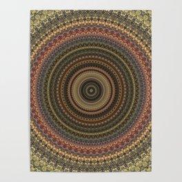 Vintage Bohemian Mandala Textured Design Poster