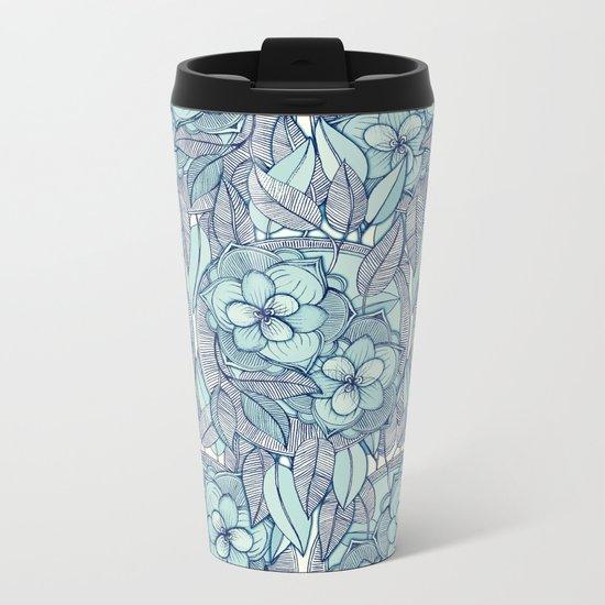 Teal Magnolias - a hand drawn pattern Metal Travel Mug