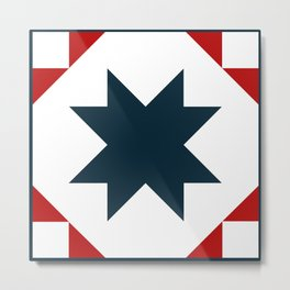 Blue and Red star quilt square Metal Print