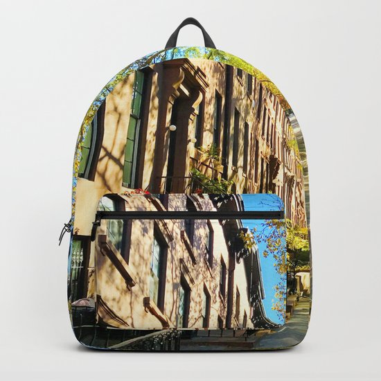 Cobble Hill Brooklyn New York in the Fall, Brownstones Backpack