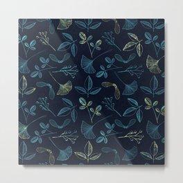 Seeds and Leaves print - blue. Metal Print