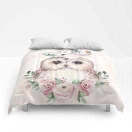 Forest Owl Floral Pink by Nature Magick Comforters