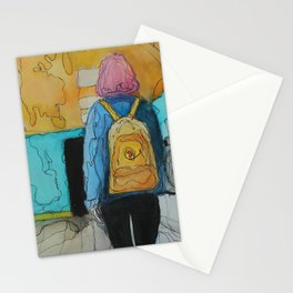 The Girl With the Yellow Backpack Stationery Cards
