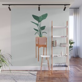 Boho mid century modern house plant and pot stand Wall Mural
