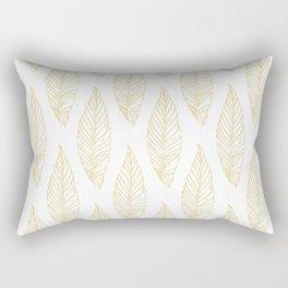 Golden Feathers Pattern Rectangular Pillow