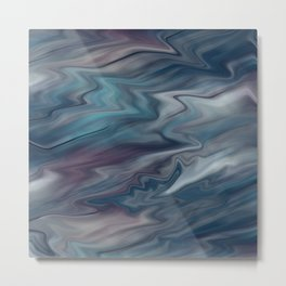 Grey-blue blurred abstract Metal Print