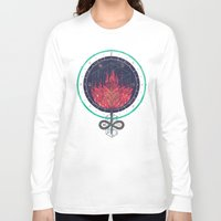dahlia Long Sleeve T-shirts featuring Fading Dahlia by Hector Mansilla