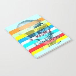 Striped Glitch Skull Notebook