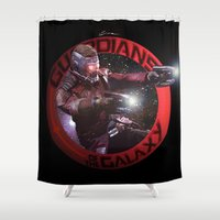 guardians of the galaxy Shower Curtains featuring StarLord - Guardians of the Galaxy by Leamartes