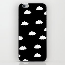 White clouds in black background iPhone Skin
