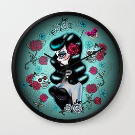 Rockabilly Raven Sugar Skull Girl Wall Clock