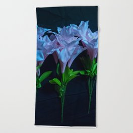 pink and blue flowers on black Beach Towel