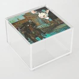 Death is cute kitten handcut collage Acrylic Box