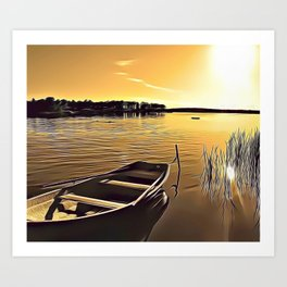 Summer Lake Airbrush Artwork Art Print
