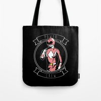 power ranger Tote Bags featuring Power Crew Pink Ranger by zombieCraig by zombieCraig