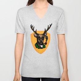 Pipe Smoking Deer Unisex V-Neck
