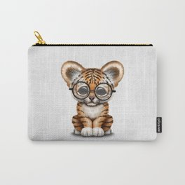 Cute Baby Tiger Cub Wearing Eye Glasses on White Carry-All Pouch