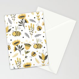 Bees and ladybugs. Gold and black Stationery Cards