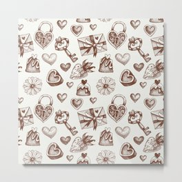 Valentine day pattern with hearts and gift boxes Metal Print